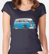 VW T2 Microbus cartoon blue Women's Fitted Scoop T-Shirt