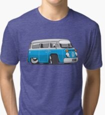 VW T2 Microbus cartoon blue Tri-blend T-Shirt