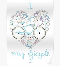 I Love my Bicycle Print Poster