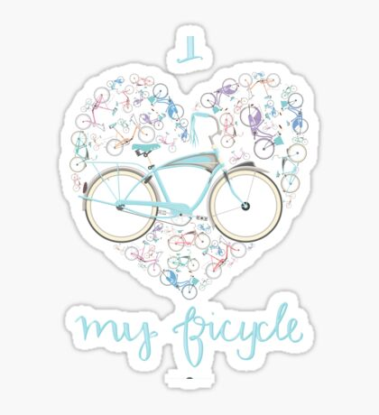 I Love my Bicycle Print Sticker