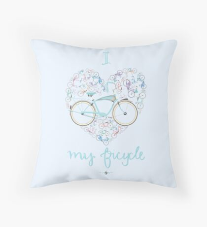 I Love my Bicycle Print Throw Pillow