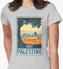 Vintage Travel Poster Visit Palestine Women's Fitted T-Shirt