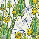 yellow water lilies and dragonflies by smalldrawing