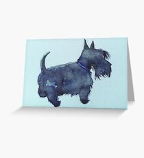 Scottie watercolour (blue) Greeting Card