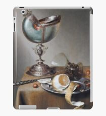 Marten Boelema De Stomme - Still-Life With Nautilus Cup . Still life with fruits and vegetables: Nautilus Cup , lemon, knife, gastronomy food, nuts, dish, glass, kitchen, vase iPad Case/Skin