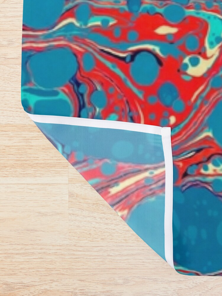 Vista alternativa de Cortina de ducha Psychedelic Blue Red Marbled Paper