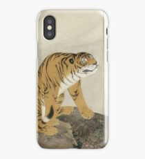 Maruyama okyo - Tiger. portrait Tiger: tiger on the tree, tree, striped, nature, strong, beast, animal, predator, mountain,  mountain tree, fly iPhone Case/Skin