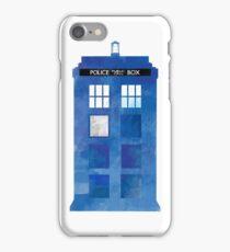 Watercolour TARDIS iPhone Case (White) iPhone Case/Skin