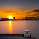 Sunrise at Princess Pier viewing the Spirit of Tasmania Cruise ship at St Kilda, Victoria, Austarlia by Ben  Cadwallader