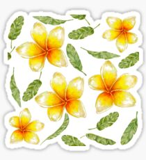 pattern with tropical flowers and banana leaves  Sticker
