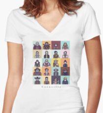 Coenville (w/ black lettering) Women's Fitted V-Neck T-Shirt