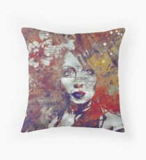 Farewell, Mona Lisa: Autumn - flower girl graffiti portrait Throw Pillow
