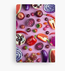 Red food on pink Canvas Print