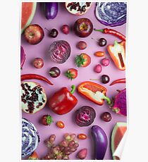Red food on pink Poster