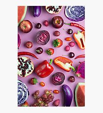 Red food on pink Photographic Print