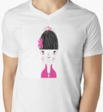 Beautiful Japan Girl stylized vector Illustration Men's V-Neck T-Shirt