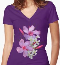 Flowers pink and white Women's Fitted V-Neck T-Shirt