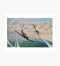 B of B - Spitfire and Me109  Art Print