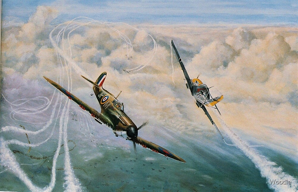 B of B - Spitfire and Me109  by Woodie