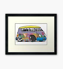VW split-screen magic bus cartoon Framed Print