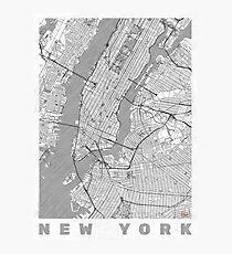 New York Map Line Photographic Print