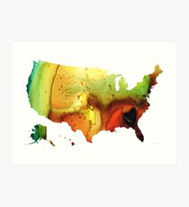 United States of America Map 5 - Colorful USA Art Print