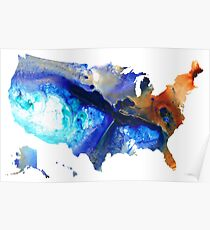 United States of America Map 7 - Colorful USA Poster