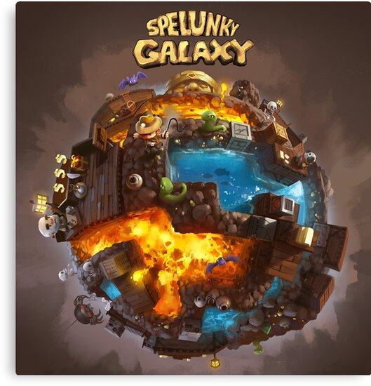 spelunky galaxy canvas prints by seryst redbubble