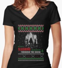 The Walking Dead - Michonne Ugly Christmas Sweater! Women's Fitted V-Neck T-Shirt