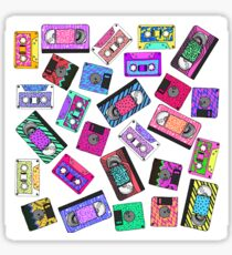 Retro 80's 90's Neon Patterned Cassette Tapes Sticker