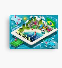 Isometric Infographic of Brazil on Tablet Canvas Print