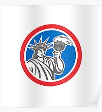 Statue of Liberty Holding Flaming Torch Circle Retro Poster