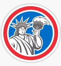 Statue of Liberty Holding Flaming Torch Circle Retro Sticker