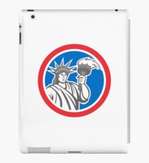 Statue of Liberty Holding Flaming Torch Circle Retro iPad Case/Skin