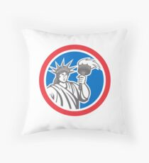 Statue of Liberty Holding Flaming Torch Circle Retro Throw Pillow