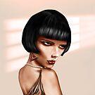 Stylized woman with short black hair by Paul Fleet