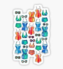 Sixties Swimsuits and Sunnies on white Sticker
