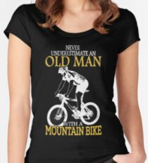 Never Underestimate An Old Man With A Mountain Bike Women's Fitted Scoop T-Shirt