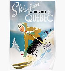 Vintage ski poster, woman skiing in Quebec Poster