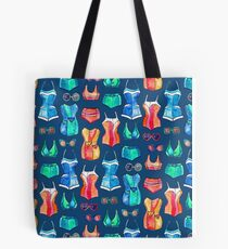 Sixties Swimsuits and Sunnies on dark blue Tote Bag