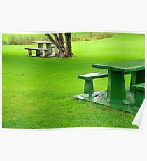Picnic Tables in the Rain Poster
