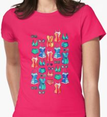 Sixties Swimsuits and Sunnies on blush pink Womens Fitted T-Shirt