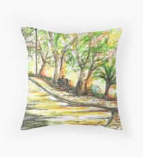 Sun glowing through Trees Throw Pillow