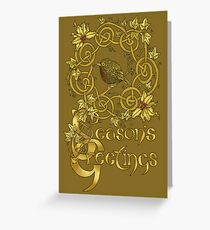 """Robin Wreath"" Gold Holly & Ivy Celtic Seasonal Greetings Card Greeting Card"
