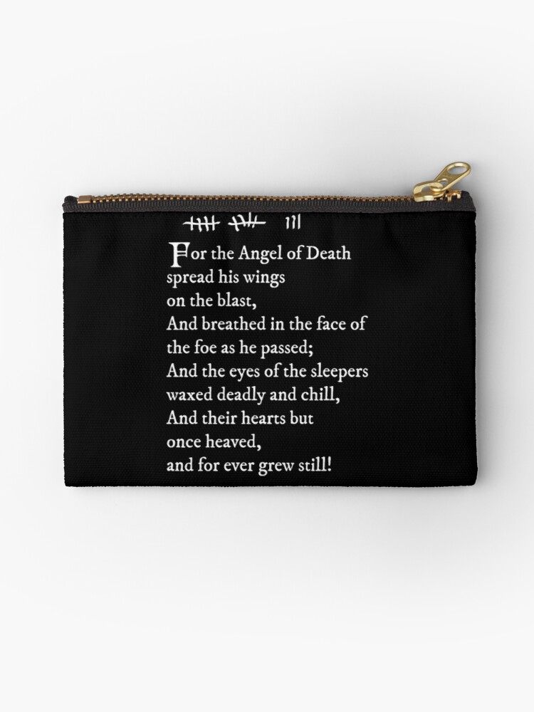 Archer Pams Tattoo Lord Byron Poem White Text Zipper Pouch By Jandii