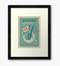 Let's go Skiing retro poster Framed Print