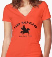 Camiseta entallada de cuello en V Campamento Half Blood: logotipo completo del campamento