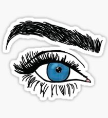blue eye and eyebrow Sticker
