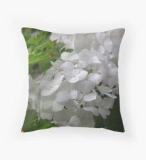 White Hydrangea Pillow Throw Pillow