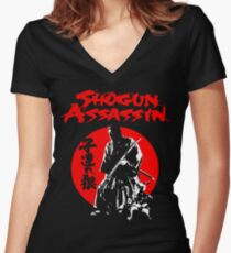 LONEWOLF AND CUB AKA SHOGUN ASSASSIN SHINTARO KATSU JAPANESE CLASSIC SAMURAI MOVIE  Women's Fitted V-Neck T-Shirt